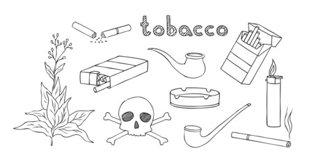 tobacco and smoking vector set