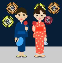 小学生 カップル 夏祭り 花火 浴衣