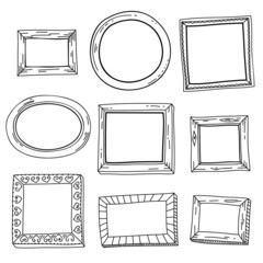 Cute hand drawn vector vintage frames