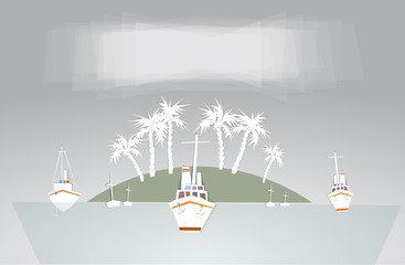 Port illustration, city on the island