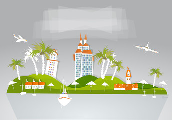 "Paradise hotel travel background ""White city"" collection"