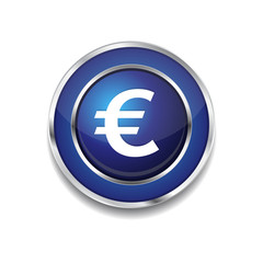 Euro Currency Sign Circular Vector Blue Web Icon Button