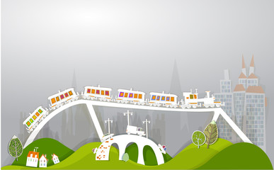 City and trains, cargo concept illustration