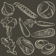 set of vegetable, garlic, peas, cabbage,  vector illustration