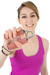 Sportlerin trainiert Hand-Muskel