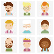 Cute male character faces flat icons