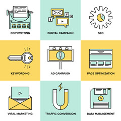 Digital marketing and seo optimization flat icons