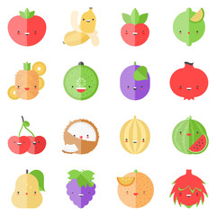 Cute stylish fruits flat icons