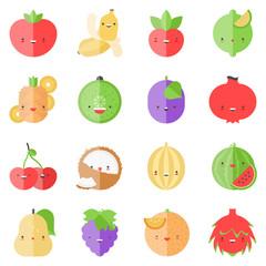 Cute stylish fruits flat icons