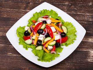 Fresh vegetable colorful greek salad
