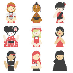 Girls in traditional clothes flat icons