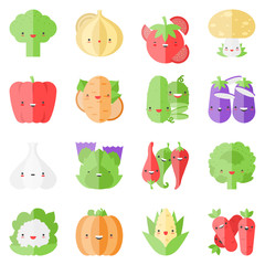 Cute stylish vegetables flat icons