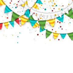 Festive Background with Buntings and Confetti 3
