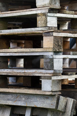 Detail of stacked wooden pallets