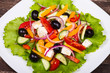 Fresh vegetable colorful greek salad