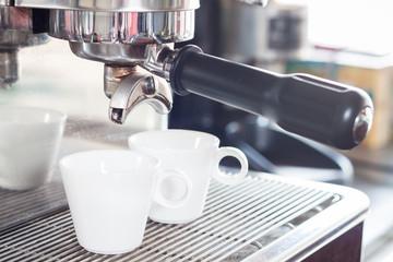 Coffee cups prepare for espresso shot