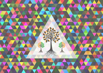 Colorful triangle background with trees