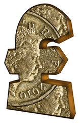 UK pound sign with pound coin design