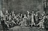Moliere presents his Tartuffe in salon of Ninon de L'Enclos