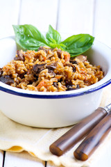 Rice with aubergine