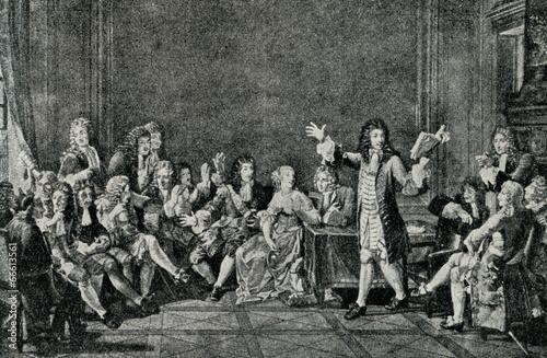 Moliere presents his Tartuffe in salon of Ninon de L'Enclos - 66613561
