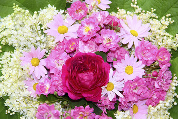 Colorful flower background with pink roses, daisies