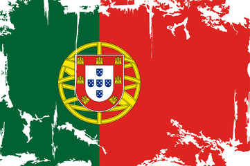 Portuguese grunge flag. Vector illustration