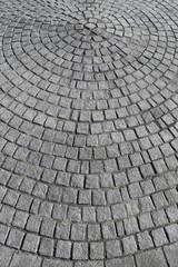 Pflastersteine als Kreis verlegt im Detail