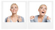 Set of two pictures with woman expressing different emotions