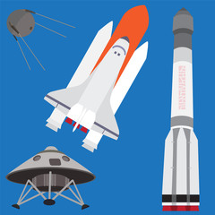 Human spacecrafts. Vector set.