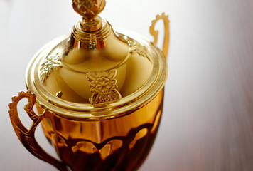 Ornamental detail on a gold trophy lid