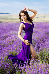 Sexy girl wearing nice dress in lavender