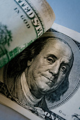 Detail of Benjamin Franklin on 100 dollar bill
