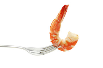 Shrimp on fork isolated on white background