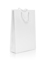 blank paper bag on an isolated white background