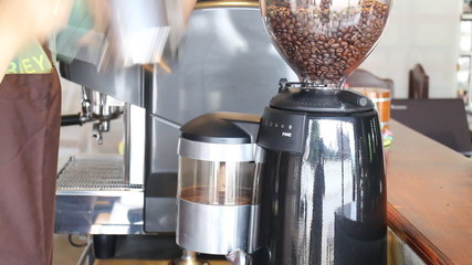 Barista Poured Coffee Beans In To Grinder Stock Video