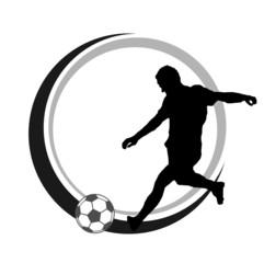 Fußballer Logo Schuss s/w