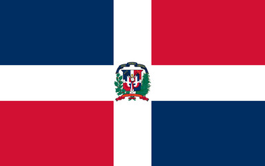 High detailed flag of Dominican Republic