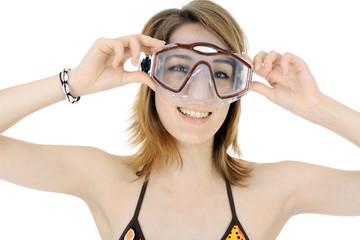 Schwimmerin mit Taucherbrille