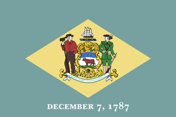 High detailed flag of Delaware