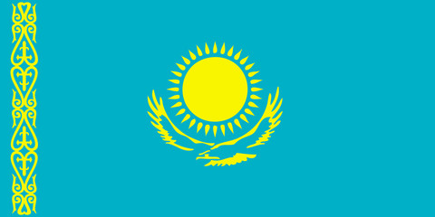 High detailed flag of Kazakhstan