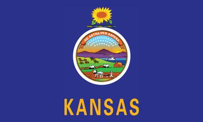 High detailed flag of Kansas