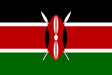 High detailed flag of Kenya