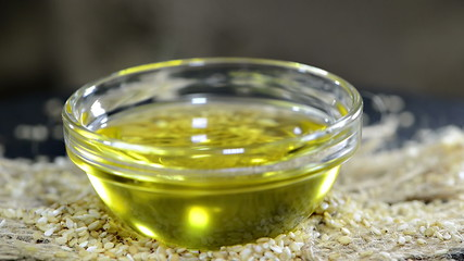 Sesame Oil in a small bowl as not loopable full HD video