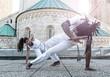 Leinwanddruck Bild - Young pair capoeira partnership ,spectacular sport