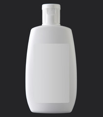 White plastic bottle isolated on black