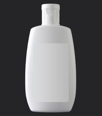 White plastic bottle isolated on black