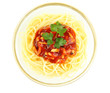 Italian spaghetti in glass bowl isolated on white