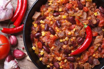 Mexican food chili con carne macro and ingredients
