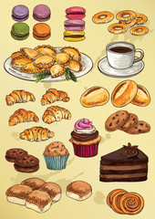 set of hand drawing  cakes and cookies